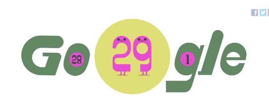 Високосный год - дудл Гугла