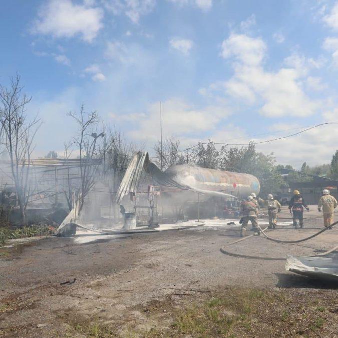 пожар на газораспределительной станции в Жетысуском районе на улице Ратушного