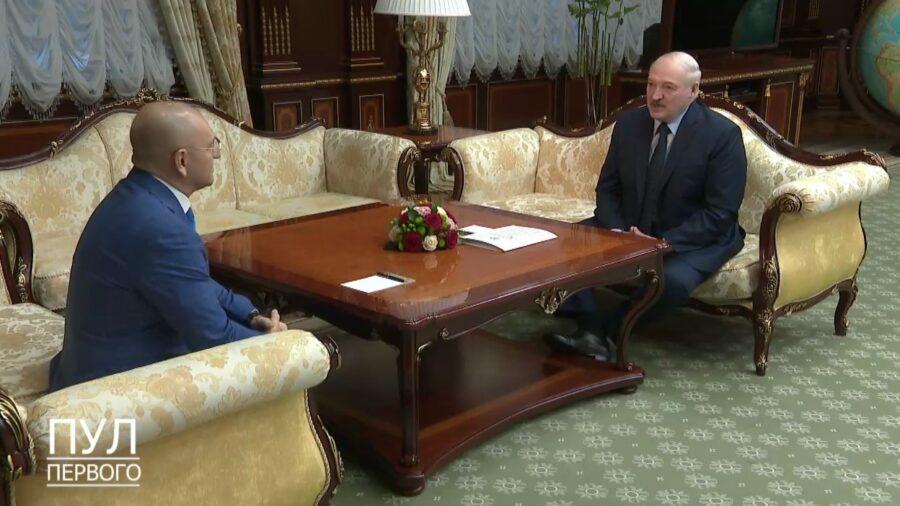 Встреча Евгения Шевченко и Александра Лукашенко 20 апреля 2021 года. Кадр с видео в телеграм-канале Пул Первого